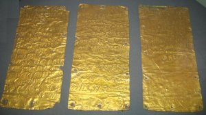 """Pyrgi tablets"". Laminated sheets of gold with a treatise both in Etruscan and Phoenician languages. From Etruscan Museum in Rome."