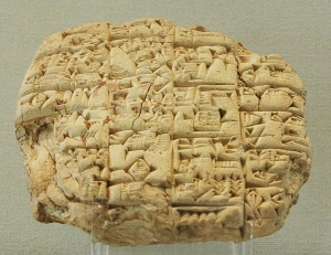 Letter sent by the high-priest Lu'enna to the king of Lagash (maybe Urukagina), informing him of his son's death in combat. w:Clay tablet, c. 2400 BC, found in Telloh (ancient Girsu).